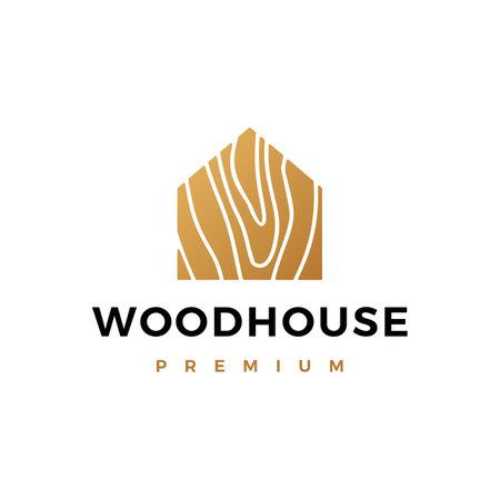 wood house logo vector icon illustration Logo