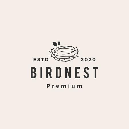 bird nest hipster vintage logo vector icon illustration