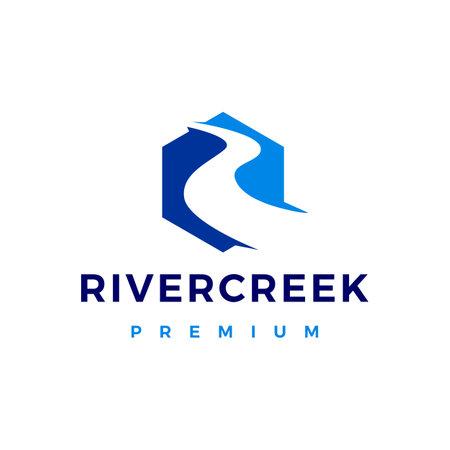 river creek logo vector icon illustration Ilustração