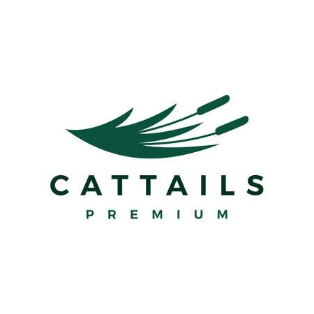 cattail grass logo vector icon illustration Illusztráció