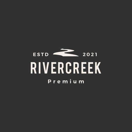 river creek hipster vintage logo vector icon illustration Ilustração