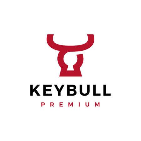 key hole bull head horn logo vector icon illustration Vectores