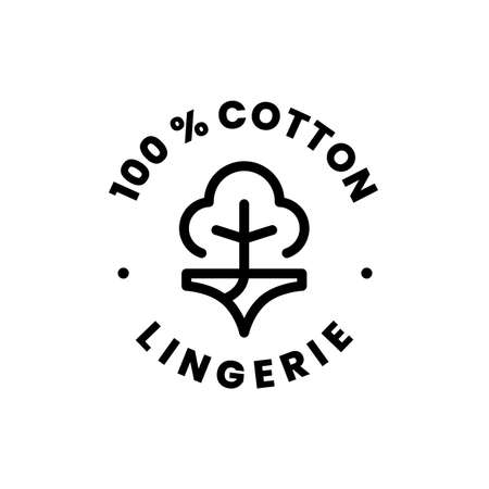 lingerie 100 percent cotton underwear sign badge symbol label logo vector icon illustration Vectores