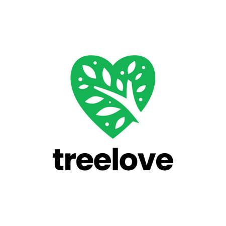 nature love tree heart valentine logo vector icon illustration