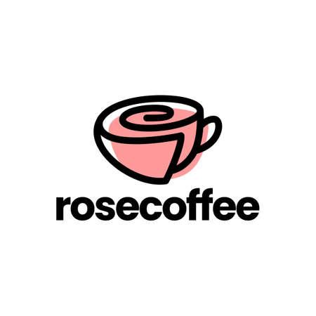 rose cup coffee tea flower logo vector icon illustration Vectores