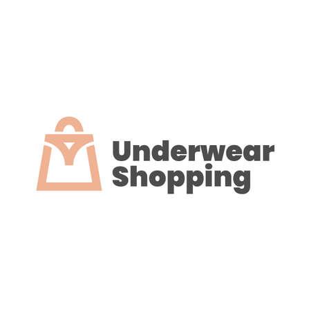 underwear shop shopping bag logo vector icon illustration Vectores