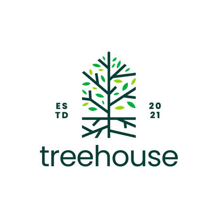 tree root house home mortgage logo vector icon illustration