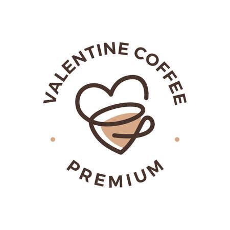 love coffee tea cup valentine heart logo vector icon illustration