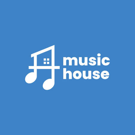 music note house home logo vector icon illustration