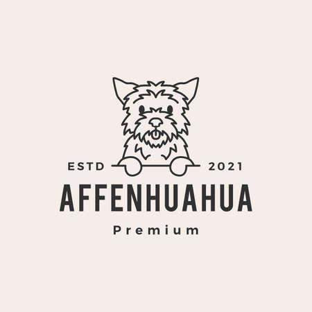 affenhuahua dog hipster vintage logo vector icon illustration Vectores