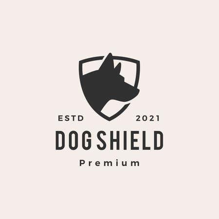 dog shield hipster vintage logo vector icon illustration