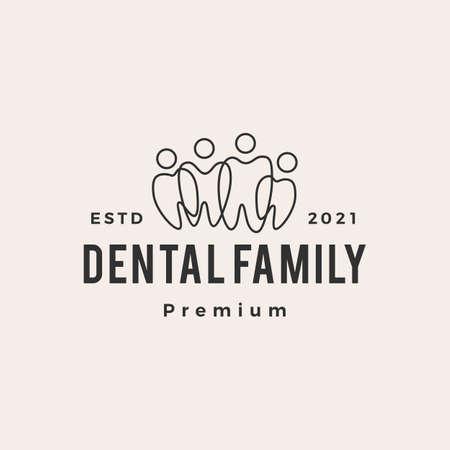 dental family community team hipster vintage logo vector icon illustration
