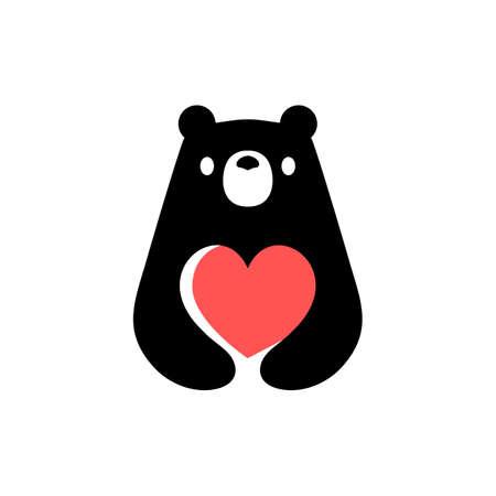 bear love valentine heart negative space logo vector icon illustration Vectores