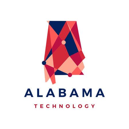alabama technology connection polygonal logo vector icon illustration