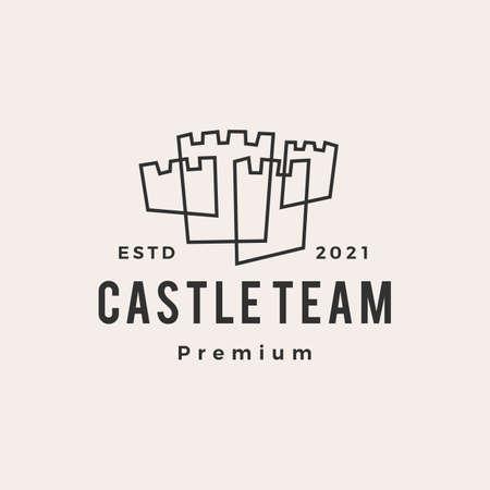 castle outline hipster vintage logo vector icon illustration Vectores