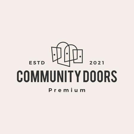 door team niche community hipster vintage logo vector icon illustration