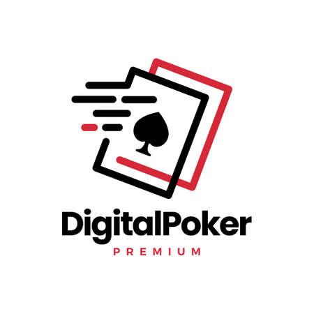 digital poker card fast quick dash tech logo vector icon illustration