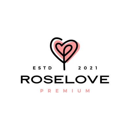 rose flower love heart valentine logo vector icon illustration