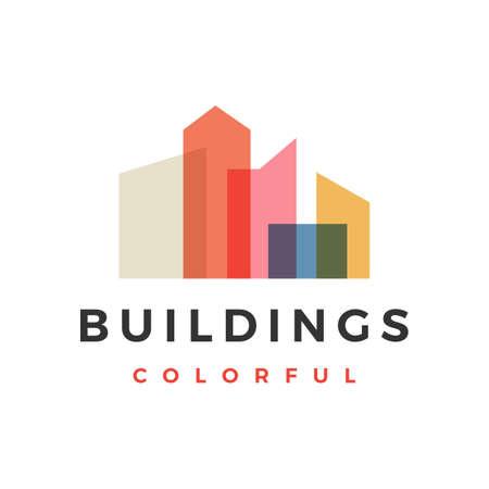 building city skyline colorful overlay logo vector icon illustration
