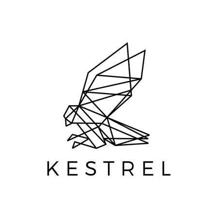 kestrel bird geometric outline polygonal logo vector icon illustration Vectores