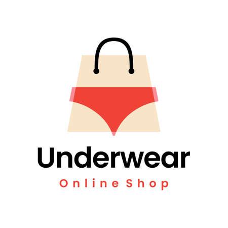 underwear online shop lingerie shopping bag logo vector icon illustration