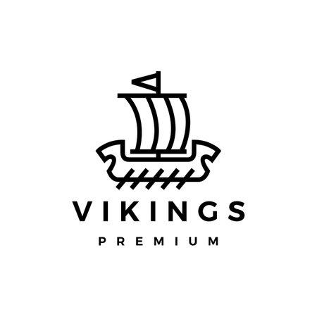 viking ship monoline line logo vector icon illustration Vectores