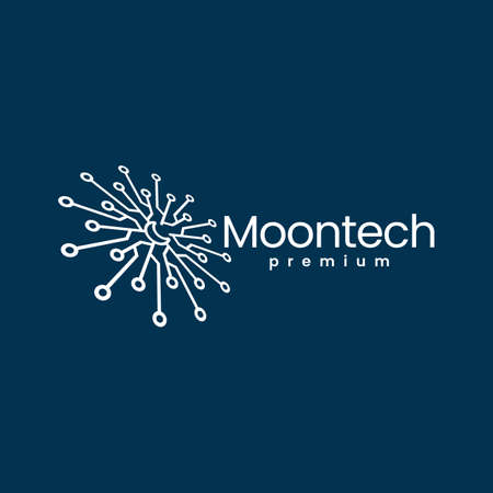 moon tech perspective electric circuit logo vector icon illustration
