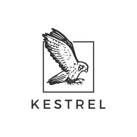 flying kestrel bird square logo vector icon illustration Vectores