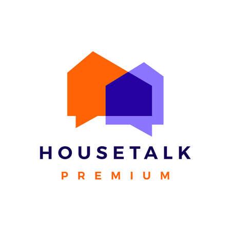 house talk chat bubble logo vector icon illustration