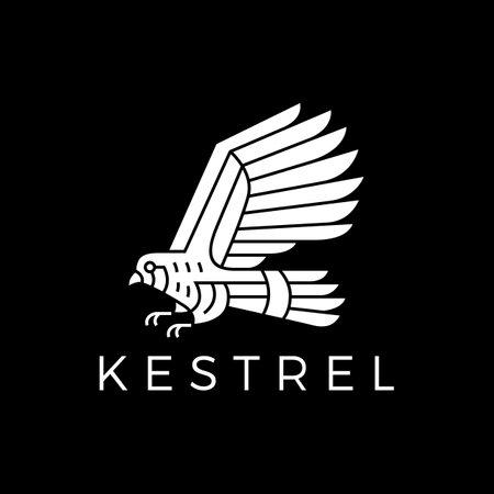 kestrel bird black background logo vector icon illustration Vectores