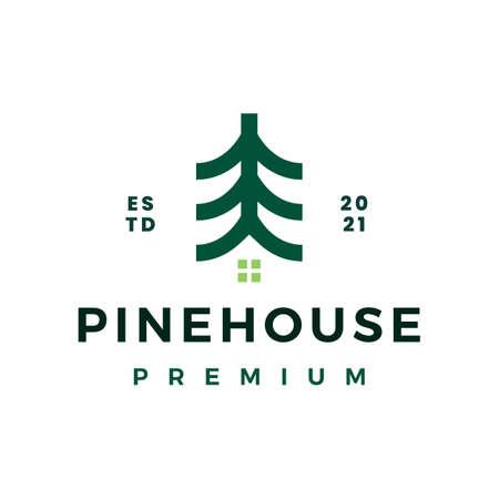 pine tree house logo vector icon illustration