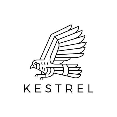 kestrel bird monoline outline logo vector icon illustration