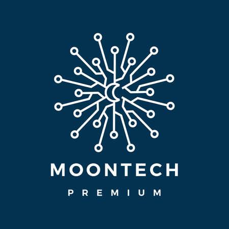 moon tech electric circuit logo vector icon illustration