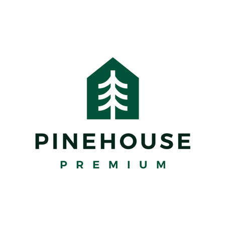 pine tree house home logo vector icon illustration Vectores