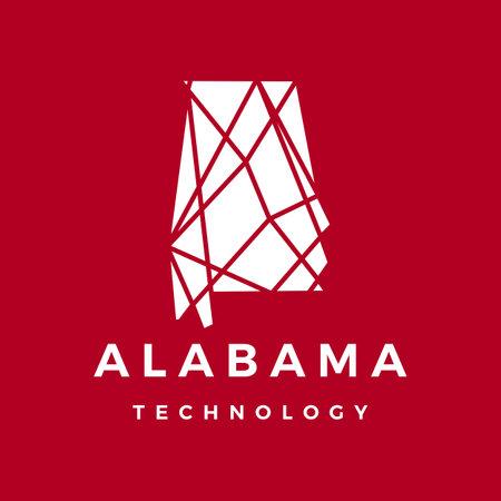 alabama technology connection geometric polygonal logo vector icon illustration Vectores