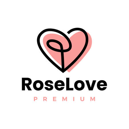 rose love heart logo vector icon illustration Vectores