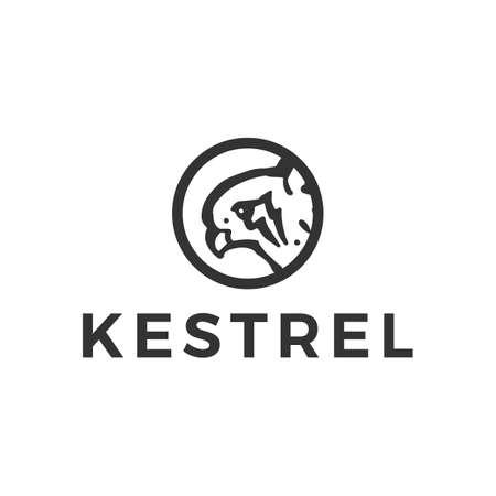 kestrel bird head round logo vector icon illustration