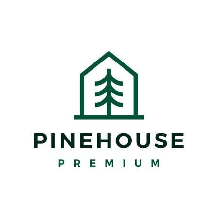 pine tree house monoline line logo vector icon illustration Vectores
