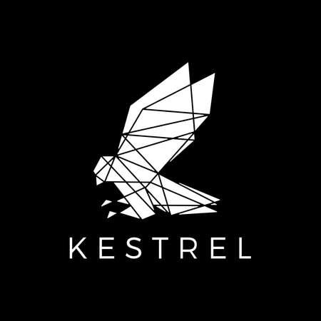 kestrel bird head geometric polygonal black logo vector icon illustration