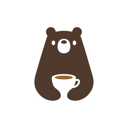 bear coffee cup negative space vector icon illustration