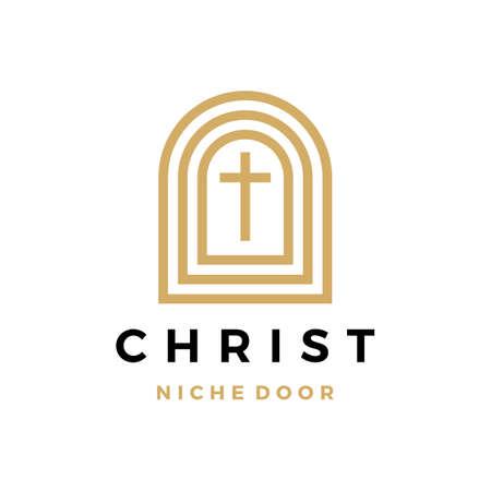 Christ niche door vector icon illustration