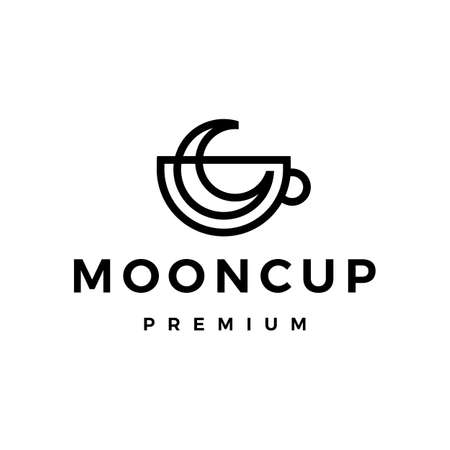 moon cup coffee tea monoline outline vector icon illustration Vectores