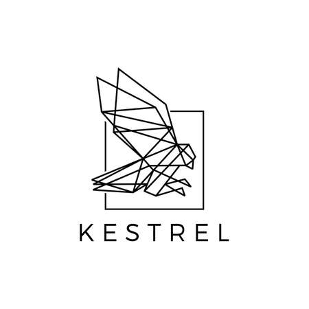 kestrel square bird geometric polygonal black vector icon illustration Vectores