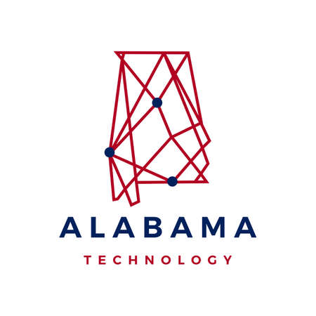 alabama technology connection geometric polygonal vector icon illustration