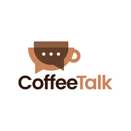 coffee talk chat bubble social overlay overlapping vector icon illustration