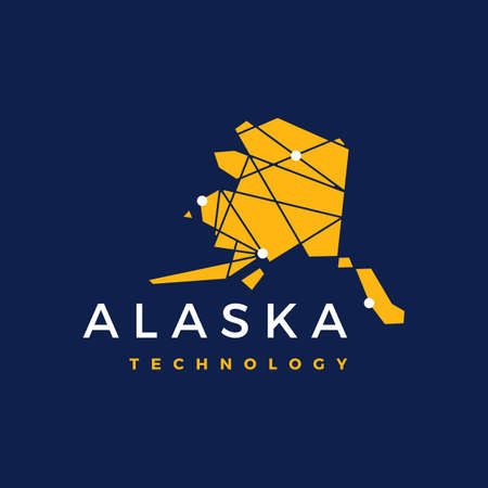 alaska technology connection geometric low poly vector icon illustration