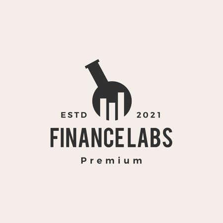 finance lab bar chart hipster vintage vector icon illustration