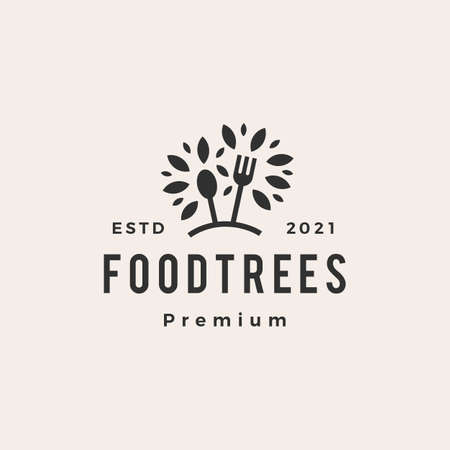 foot tree fork spoon hipster vintage vector icon illustration