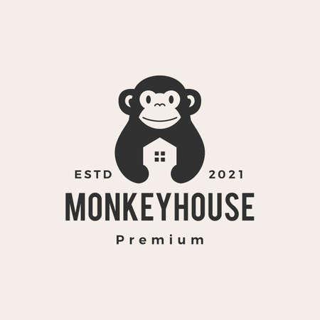 monkey house hipster vintage vector icon illustration