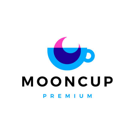 moon cup coffee tea overlay overlapping vector icon illustration Vectores
